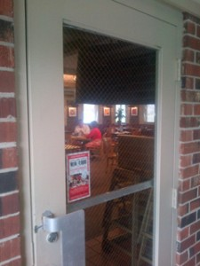 This wired glass in a door in a Pizza Hut in Bowling Green, VA, was probably installed years ago.
