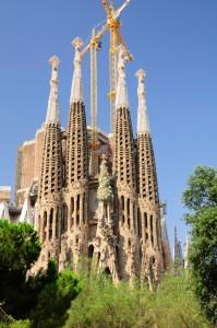 La Catefral de la Sagrada Familia is still under construction in Barcelona