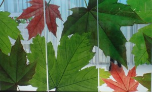 Beautiful fall leaves captured in decorative glass.