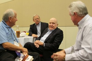 Jack Welch chats with industry leaders as breakfast last Friday.